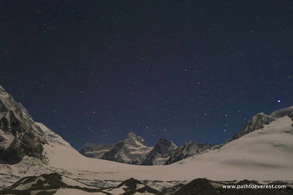 Nangpa La Pass and Yak Horn Peak at night